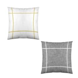 Cojín decorativo para cama SQUARE con dibujo reversible gris y blanco