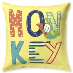 Almohada de niños cuadrada para cama MONKEY loro sobre fondo color amarillo