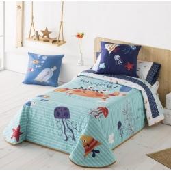 Boutí infantil cama 80, 90 o 105 CRABBY estampado cangrejos, peces y medusas