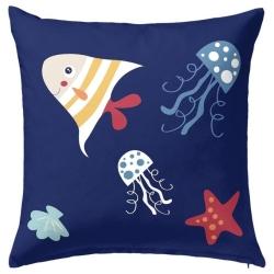 Funda almohada infantil CRABBY dibujo medusas y estrellas del mar