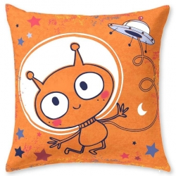Cojín decorativo cuadrado de 60x60 ROCKY extraterrestre color naranja
