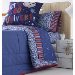 Tríptico sábanas infantiles de algodón ROCKY dibujo azulón de lunas y estrellitas