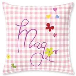Cojín infantil de niña MAGIC mariposas fondo de cuadros rosa