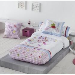 Edredón ajustable de unicornios y mariposas MAGIC color rosa y malva