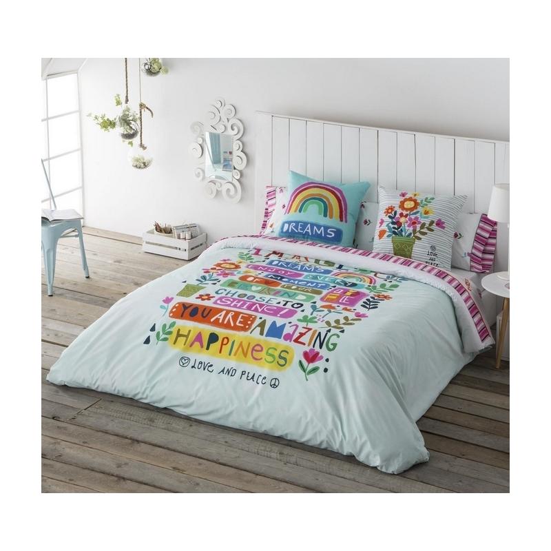 Funda nórdica juvenil de chica o chico IMAGINE flores y arcoiris