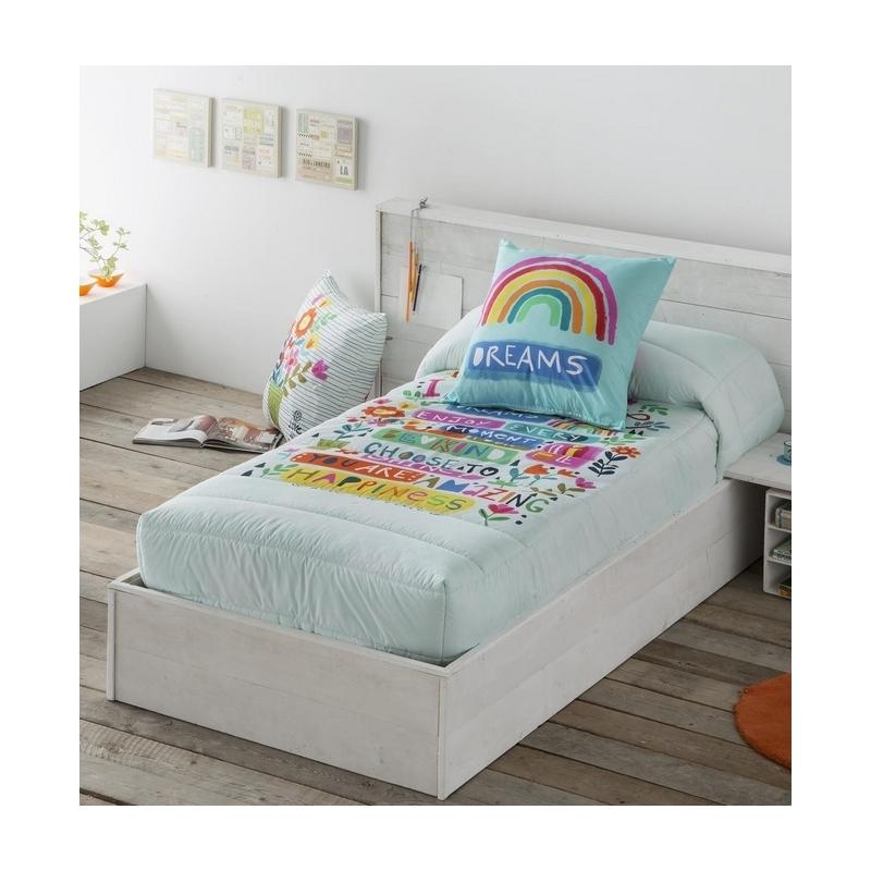 Edredón ajustable de flores con arco iris IMAGINE cama 80, 90, 105, 135, 150 o 180