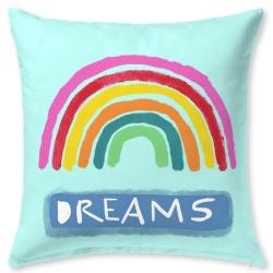 Cojín juvenil de cama en color turquesa IMAGINE dibujo arcoiris