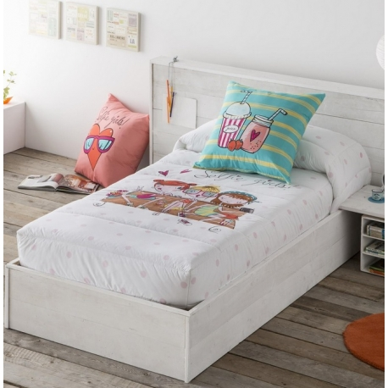 Edredón ajustable de chicas SELFIE para camas nidos, abatibles o literas