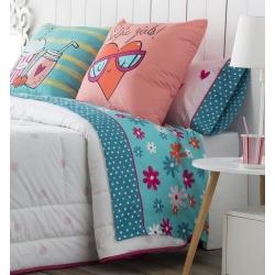 Sábanas de flores en color turquesa SELFIE para cama de 180 a 90 cm