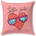 Cojín rosa divertido con estilo juvenil SELFIE estampado de corazón