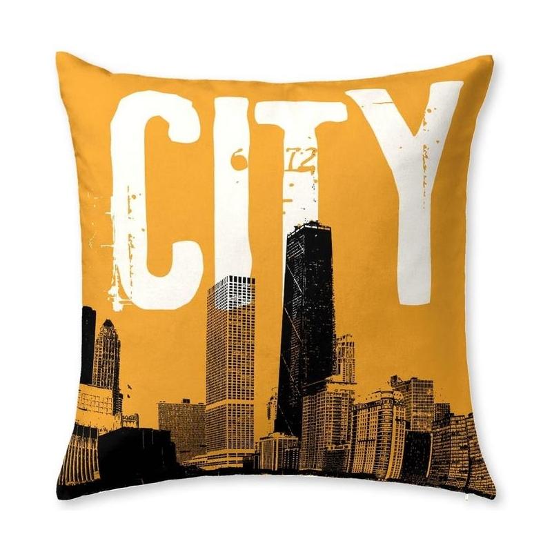 Funda decorativa para cojín de cama URBAN rascacielos en ciudad
