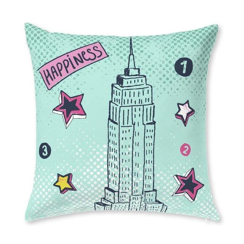 Cojín color turquesa con forma cuadrada de 60x60 CITY rascacielos Empire State Building
