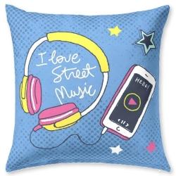 Funda de almohada decorativa color azul CITY móvil y auriculares