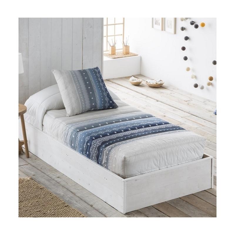 Edredón ajustable azul de rayas juveniles MEXICO algodón 200 hilos