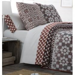 Sábanas de algodón 200 hilos ETNIC con bajera, encimera y funda de almohada
