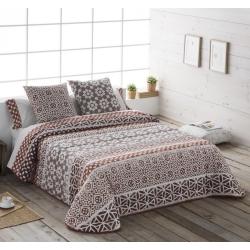 Colcha boutí de flores beige y chocolate ETNIC de cama grande o pequeña