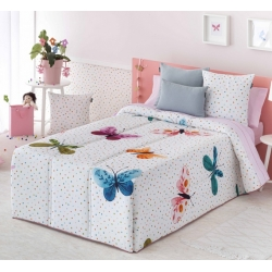 Edredón conforter infantil juvenil ALEGRIA con mariposas coloridas