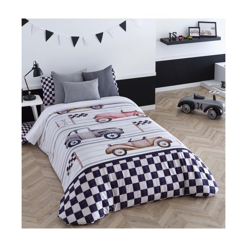 Funda nórdica con coches vintage CARRERA con sábana bajera y relleno
