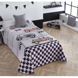 Colcha con dibujo de coches vintage CARRERA para cama 105 o 90 cm