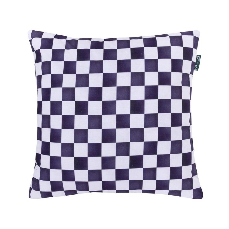 Funda decorativa para cojín de cama CARRERA cuadraditos negros y blancos
