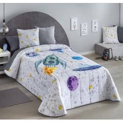 Colcha boutí para cama de niños COHETE y platillo volante
