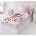 Saco nórdico rosa con sábana de flores DULCE para cama de chica