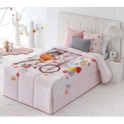 Edredón color rosa de niña en algodón DULCE cama juvenil 90 o 105