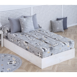 Edredón ajustable gris para cama 90 o 105 cm NORDIC pingüinos y ositos