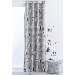 Cortinas con dibujo de pingüinos y ositos NORDIC de 150x260 o 200x260 cm