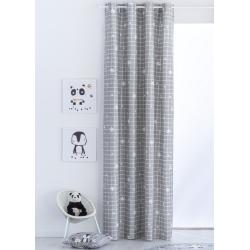 Cortinas grises para habitación de niños NORDIC COORDINADO copos de nieve