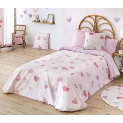 Funda nórdica niña CORAZONES color rosa con relleno de invierno