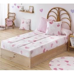 Edredón ajustable para cama de niñas CORAZONES color rosa