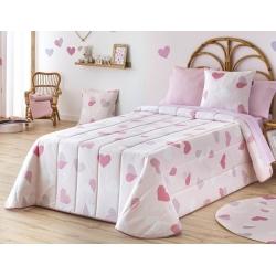 Colcha con dibujo CORAZONES rosa medida de 205x265 o 190x265 cm