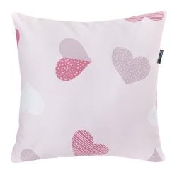 Almohada cuadrada de estilo infantil CORAZONES rosa de 40x40 cm