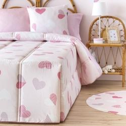 Edredón nórdico de invierno para cama de niña CORAZONES color rosa