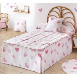 Edredón con volantes de CORAZONES rosa cama niña de 90 o 105 cm