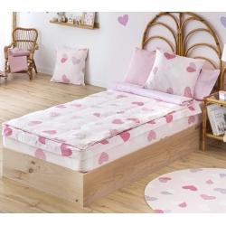Saco nórdico para cama de niñas CORAZONES rosa de 90x200 cm