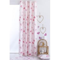 Cortina larga para habitación de niña CORAZONES color rosa