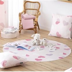Alfombra PVC antideslizante habitación de niña CORAZONES color rosa
