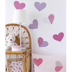 Sticker infantil para pegar en pared o mueble CORAZONES color rosa