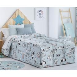 Edredón infantil azul cama 90 o 105 cm MAX perritos divertidos