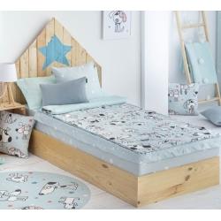 Saco nórdico azul de cama desmontable en sábana MAX dibujo perritos