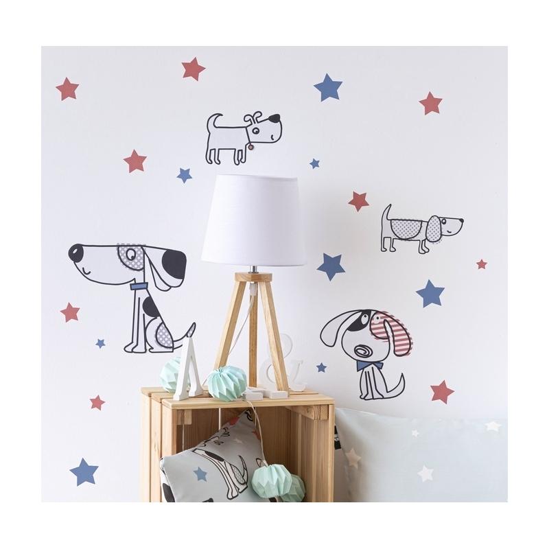 Stickers de decoración para cuarto de niños MAX perros y estrellas