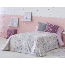 Funda nórdica gris para cama de niños MISTY conejitos y flores
