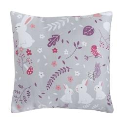 Almohada con relleno de 40x40 cm MISTY conejitos en color gris