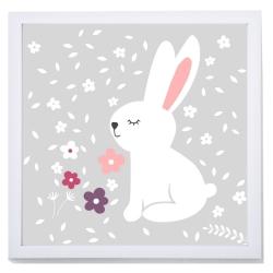 Lámina infantil con dibujo de conejo MISTY 1 sobre fondo gris