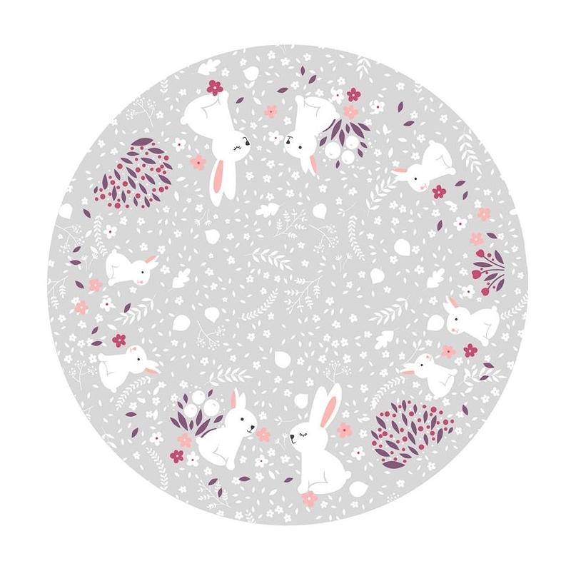 Alfombra vinílica grande y redonda para niños MISTY conejitos en gris
