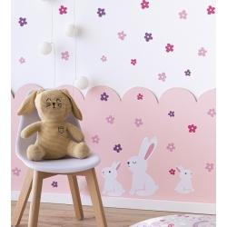 Pegatinas para muebles o paredes infantiles MISTY conejitos y flores