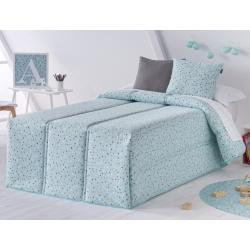 Edredón infantil de puntitos para cama 90 o 105 CONFETI color turquesa