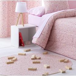 Alfombra vinílica infantil redonda CONFETI puntitos en color rosa